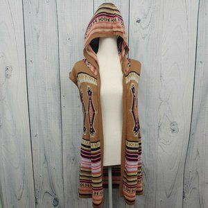 Southwest Aztec Hooded Vest Sweater Colorful Pink